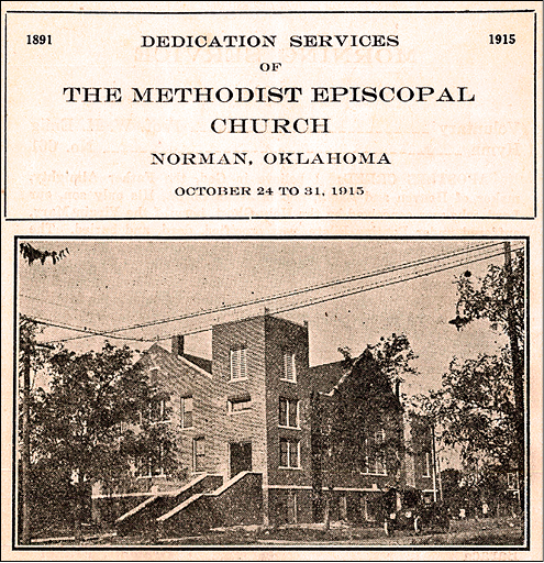 Dedication Services of the Methodist Episcopal Church in Norman, Oklahoma.