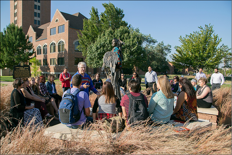 OCU President Robert Henry speaks in a proclamation ceremony at the Chickasaw Warrior Garden on campus Oct. 12, which was declared Indigenous Peoples' Day at OCU.