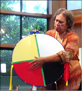 Keynote Anita Phillips uses a Native American symbol.